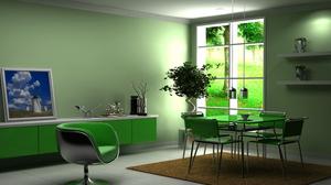 Интерьер в зеленых обоях