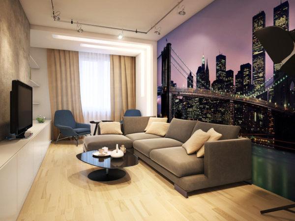 Дизайн обоев для зала (гостиной) 2017 — обычные, комбинированные, современные идеи +фото