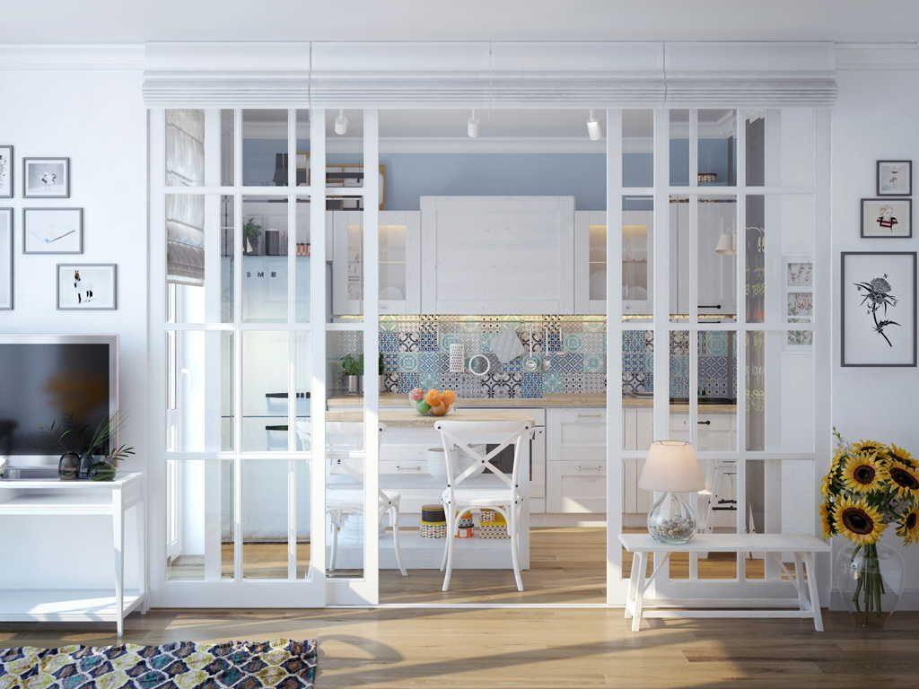 Перегородки из стекла в квартире, стеклянные стены