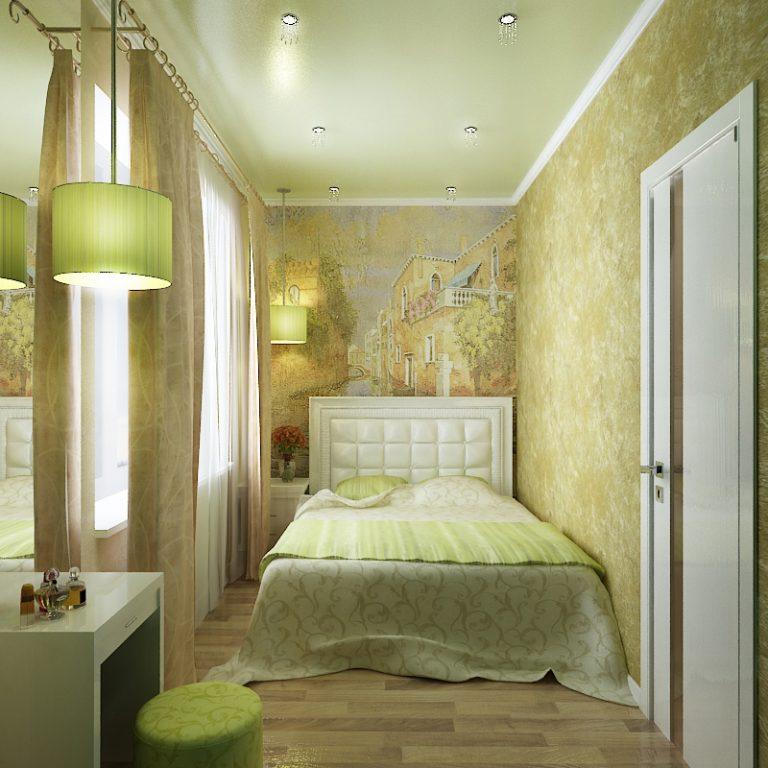 Узкая спальня дизайн интерьера