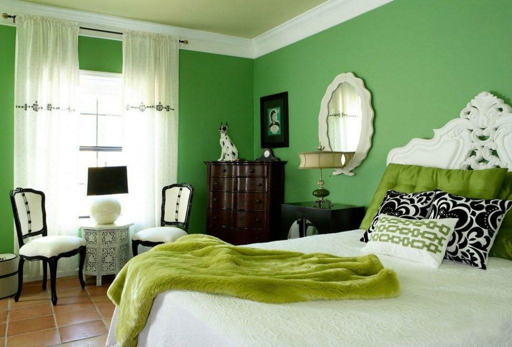 Зеленый цвет в интерьере, сочетание с другими красками