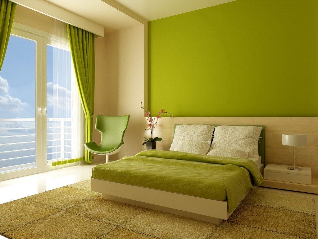 Зелёные обои в интерьере квартиры